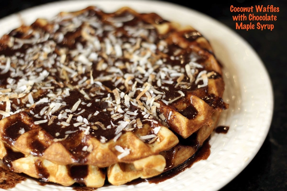 Coconut Waffles with Maple Chocolate Syrup